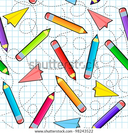 seamless pattern with pencils and paper airplanes (raster version of vector) - stock photo