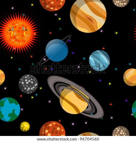 Seamless pattern with planets, illustration - stock photo
