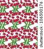 seamless pattern with plant motifs flowers tulips bouquets - stock photo