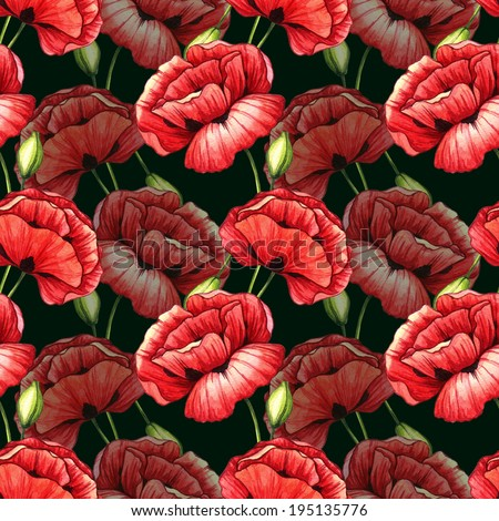 Seamless pattern with poppies. Watercolor illustration.  - stock photo