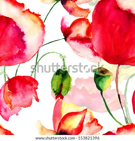 Seamless pattern with Poppy flowers, watercolor  illustration - stock photo