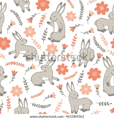 Seamless pattern with rabbits and flowers.