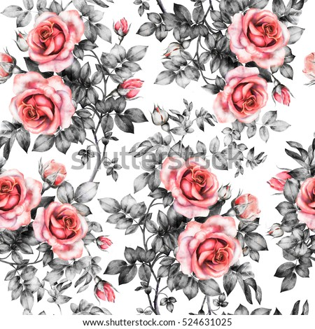 Seamless pattern with red flowers and leaves on white background watercolor floral pattern flower