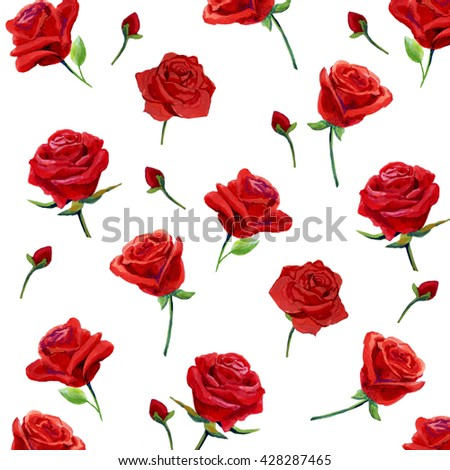 Seamless Pattern With Red Roses Drawn Of HandDesign For Fabric Textile Wallpaper