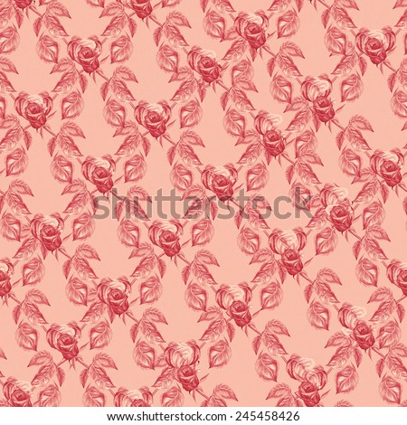 Seamless pattern with red roses flowers. Watercolor illustration. Suitable for various designs, wallpaper, decoration and scrapbook.