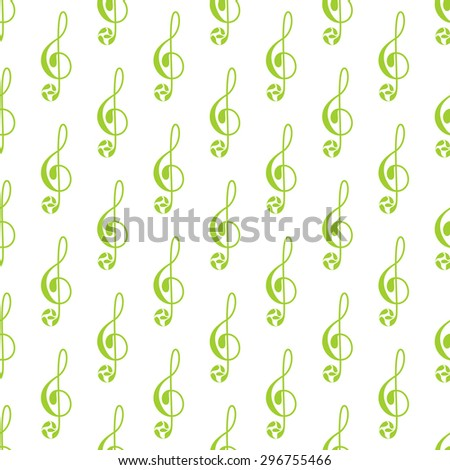 Seamless pattern with repeating green colored treble clef decorated with floral elements isolated on white background - stock photo