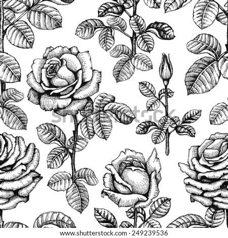 Seamless pattern with rose illustrations - stock photo