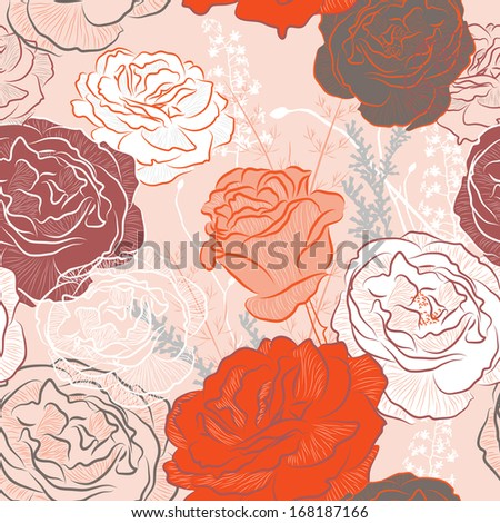 seamless pattern with roses. Raster version of vector illustration