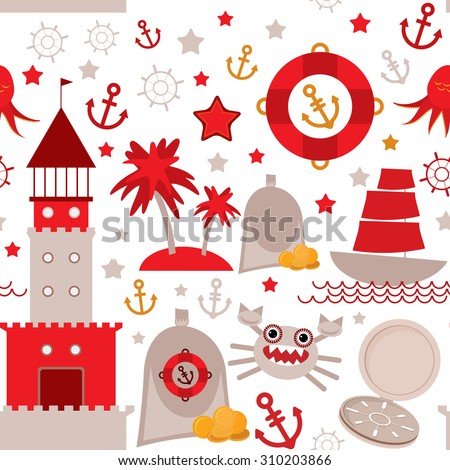seamless pattern with sea icons on white background. Seamless pattern Red and gray.