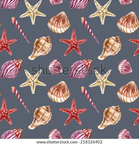 Seamless pattern with sea-shell