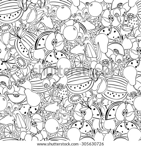 Seamless pattern with set of sweet fruits and berries. Apples, watermelon, grapes, bananas, kiwi, cherry. Food, fruit. Seamless texture. Doodle, cartoon drawing.