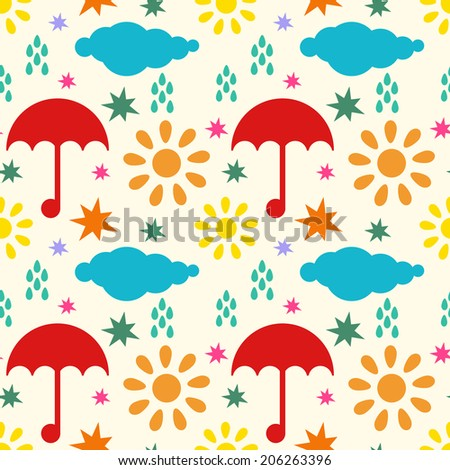 Seamless pattern with silhouettes clouds, rain drops, sun, stars, umbrellas. Endless print repeating background texture. Wallpaper - raster version - stock photo