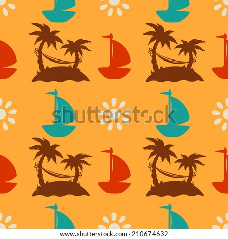 Seamless pattern with silhouettes coconut palm trees. Endless print silhouette texture. Summer. Yacht. Clouds. Hammock. Sun. Retro. Vintage style - raster version - stock photo