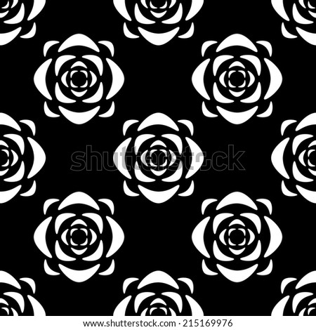 Seamless pattern with silhouettes lotus flowers in black and white. Floral abstract monochrome repeating background. Endless print texture. Fabric design. Wallpaper - raster version - stock photo