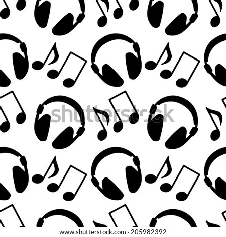 Seamless pattern with silhouettes music notes and headphones in black and white. Endless print monochrome texture. Abstract repeating background. Fabric design. Wallpaper - raster version  - stock photo