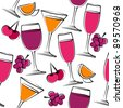 Seamless pattern with simple glasses of wine. Raster version. - stock photo