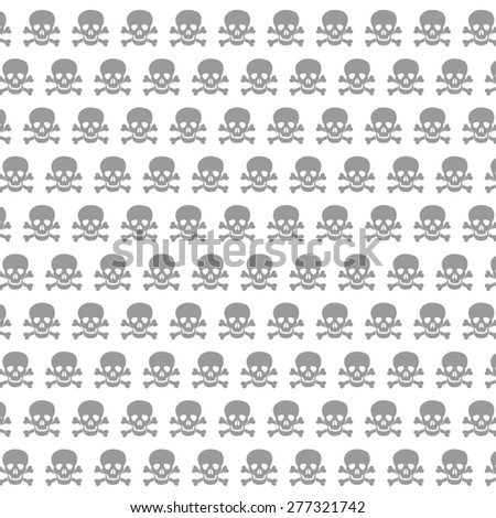 seamless pattern with skulls and bones black background - stock photo