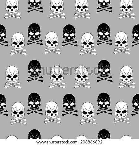 Seamless pattern with skulls and bones gray background - stock photo