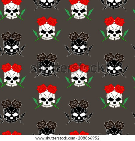 Seamless pattern with skulls and rose gray background - stock photo