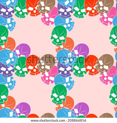 Seamless pattern with skulls colored - stock photo