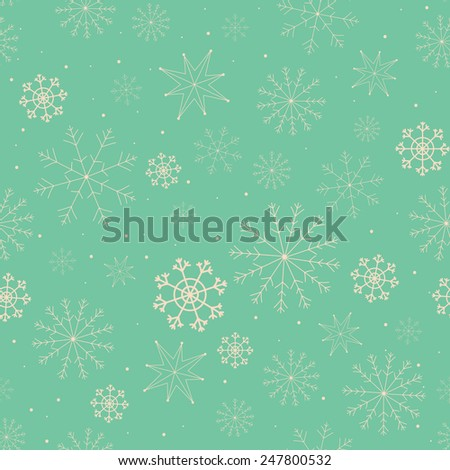 Seamless pattern with snowflakes - stock photo