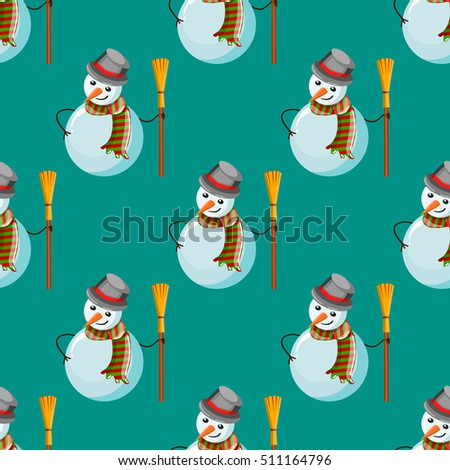 Seamless pattern with snowman. Christmas illustration.