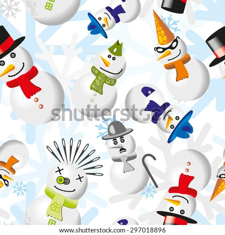Seamless pattern with snowmen in different outfits - stock photo