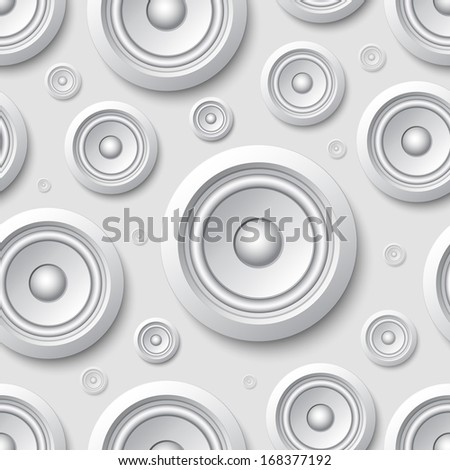 Seamless pattern with speakers - stock photo
