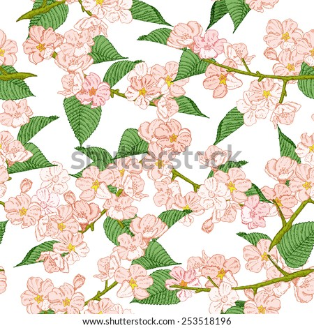 Seamless pattern with spring flowers. Cherry and apple. Summer floral background. Texture with flowering plants in doodle vintage style. Sketch. Hipster blossom design. - stock photo