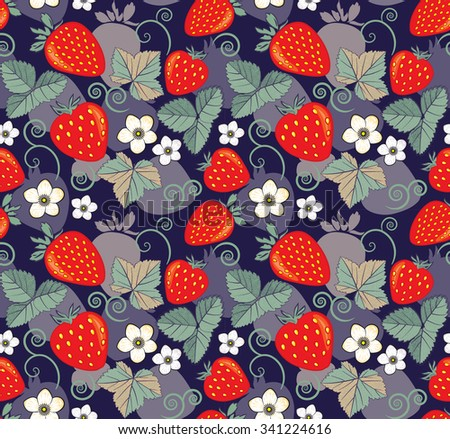 seamless pattern with stawberries