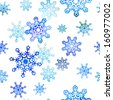 Seamless pattern with stylized Christmas watercolor snowflakes - stock