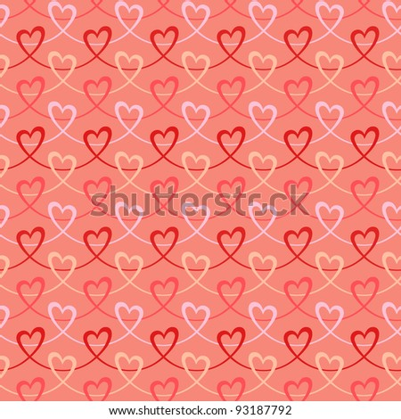 Seamless pattern with stylized waves of hearts. Pink romantic holiday background Valentines Day's and wedding.