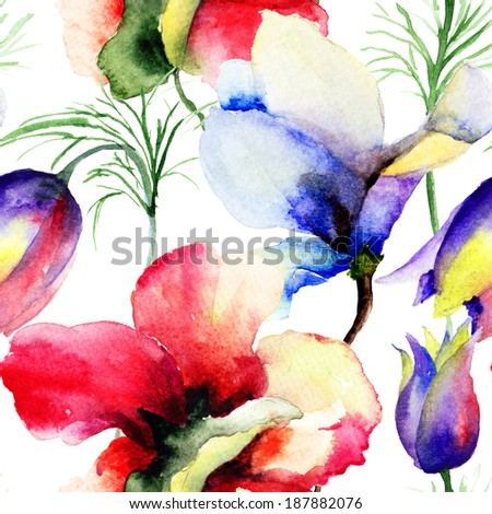 Seamless pattern with Summer flowers,watercolor painting