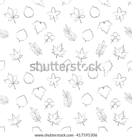 seamless pattern with thin line leaves ornament over white background. decorative wallpaper. cannabis, oak, maple, aspen, chestnut, vine, birch, rowan, linden, hemp leafs backdrop - stock photo