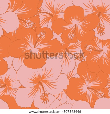 Seamless pattern with tropical flowers in watercolor style. Orange and pink hibiscus seamless pattern.