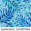 Seamless pattern with tropical Palm leaves on an ethnic geometric background. - stock vector