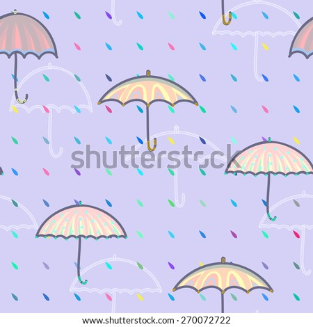 Seamless pattern with umbrellas and rain drops.