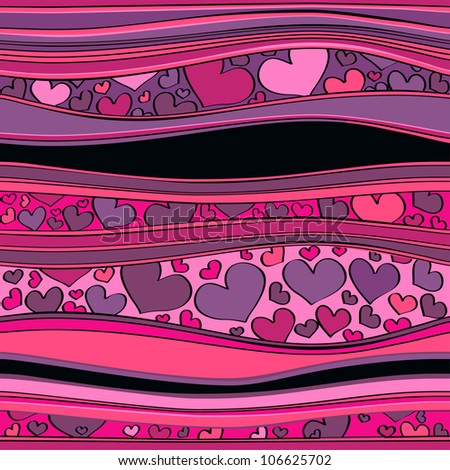 Seamless pattern with valentine hearts and lines. - stock photo