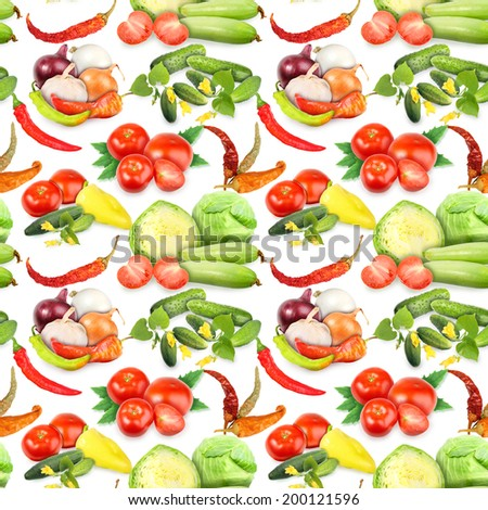 Seamless pattern with vegetables, spices, leafs and flowers. Placed on white background. Close-up. Studio photography. - stock photo