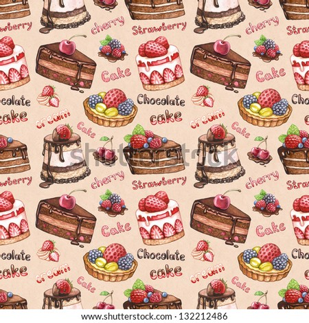 Seamless pattern with watercolor cake illustrations - stock photo