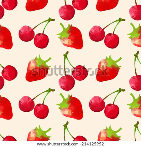 Seamless pattern with watercolor cherry and strawberry. Fruits, berries. Repeating print background texture. Fabric design. Wallpaper - raster version  - stock photo