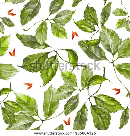 Seamless pattern with watercolor dry autumn wild grape green and red leaves on white - stock photo