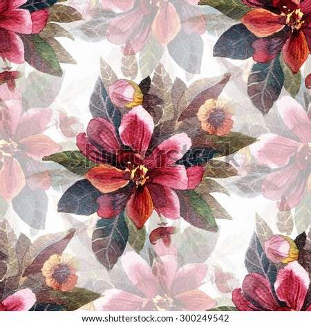 Seamless pattern with watercolor flowers. - stock photo