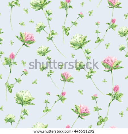 Seamless pattern with watercolor flowers of clover on blue background. - stock photo
