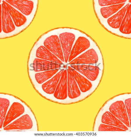 Seamless pattern with watercolor grapefruit on yellow background. Orange citrus pattern for your design