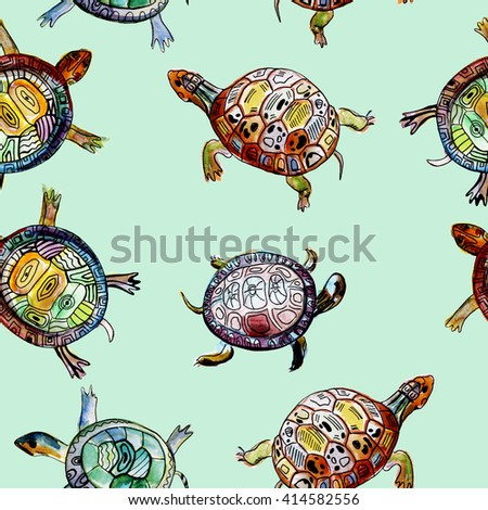 Seamless pattern with watercolor hand drawn turtles.