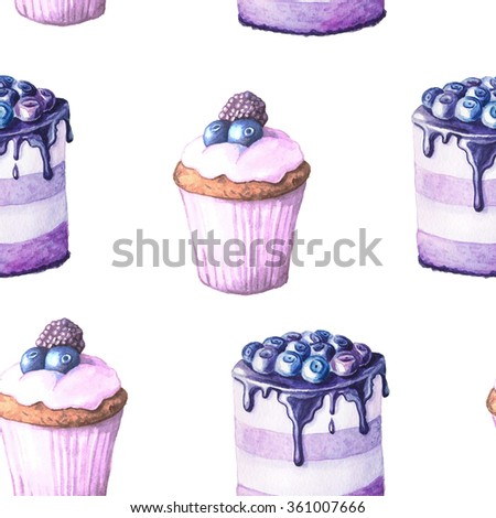 Seamless pattern with watercolor hand painted sweet and tasty cakes with blueberry and other berries on it.  Hand painted fruit dessert background perfect for fabric textile or menu wallpaper - stock photo