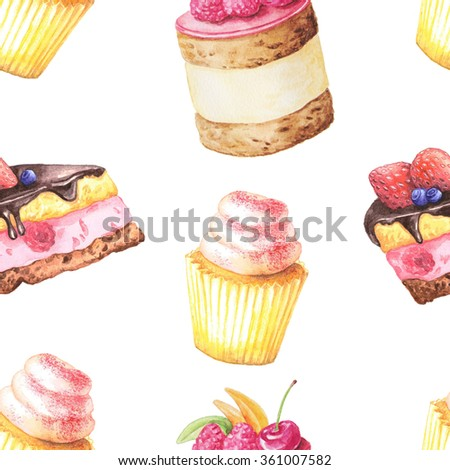 Seamless pattern with watercolor hand painted sweet cakes with raspberries, cherry and other berries on it.  Hand painted fruit dessert background perfect for fabric textile or menu wallpaper - stock photo