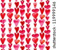 Seamless pattern with watercolor hearts - stock photo