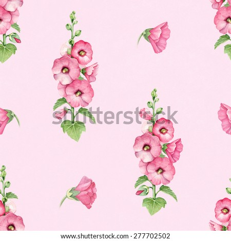 Seamless pattern with watercolor illustration of mallow flowers - stock photo